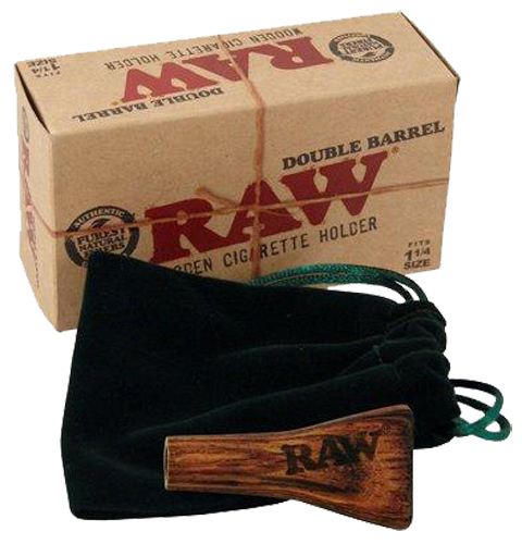 Raw double barrel wooden cigarette holder 1 size for Schneider miltenberg